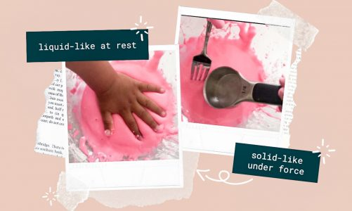 Easy science experiment for kids: making oobleck in French
