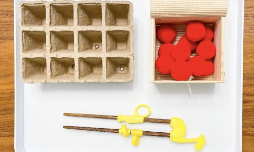 Chinese New Year activity for kids: chopsticks transferring