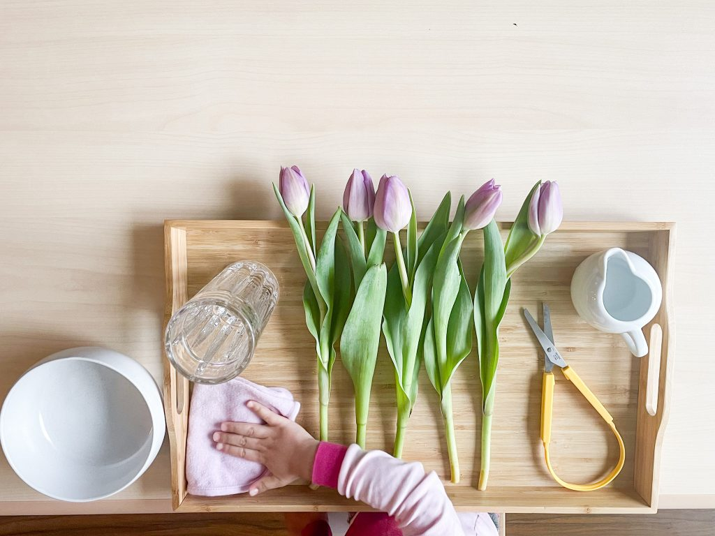 french activity for kids: montessori flower arranging
