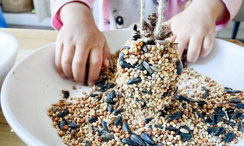 Teach children French while making pinecone birdfeeders