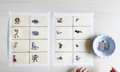 Animal names in French: sticker matching activity for kids