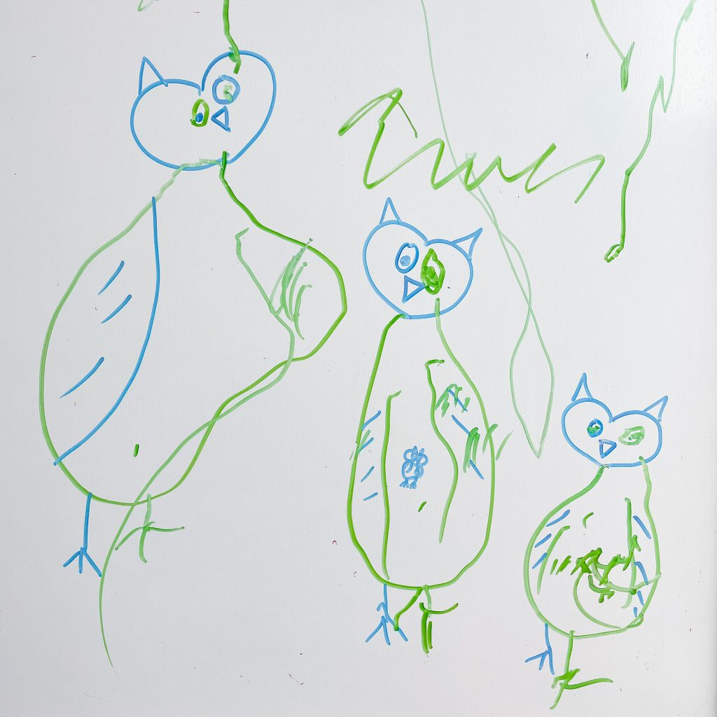 owl in french: collaborative art for toddlers